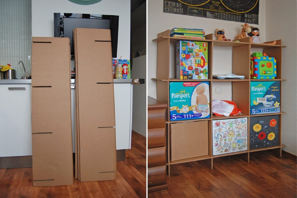 diy cardboard shelves